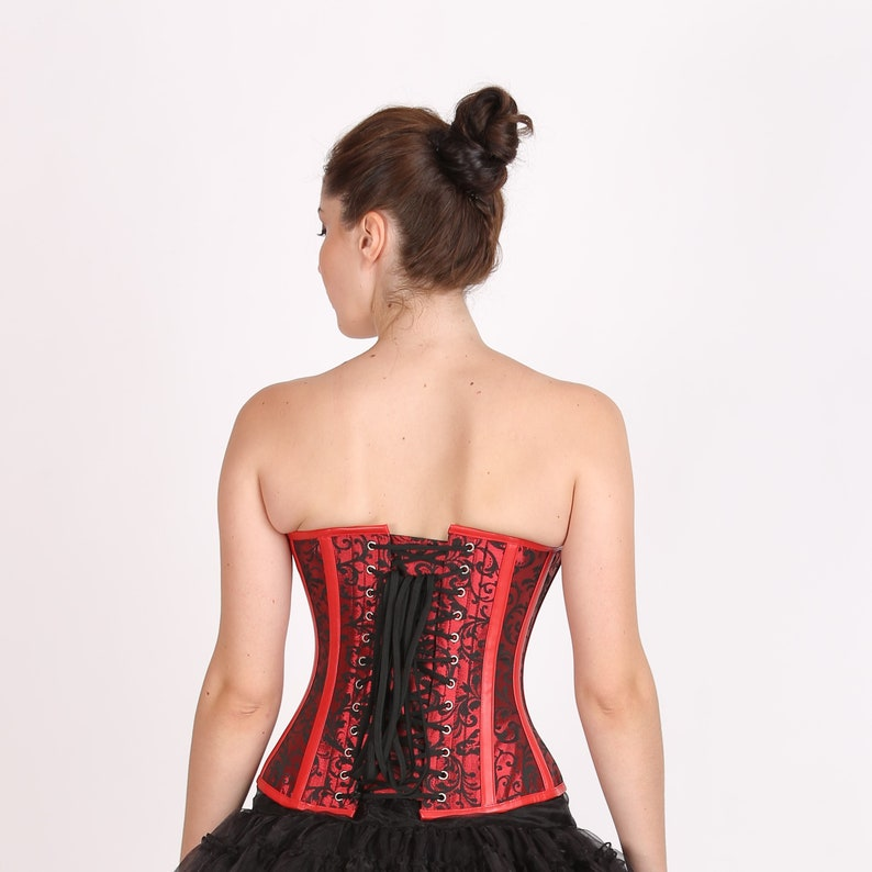 e07f8947986 Red Black Brocade   Leather Gothic Burlesque Waist Training