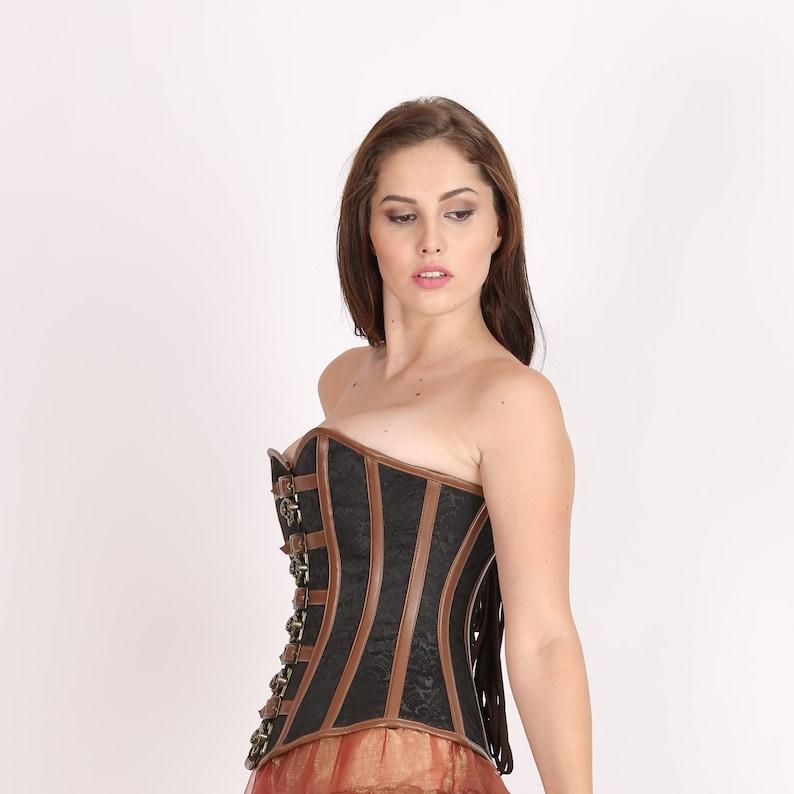 Women\u2019s Black Brocade Brown Leather Strips Gothic Steampunk Waist Training Bustier Overbust Halloween party prom Corset costume
