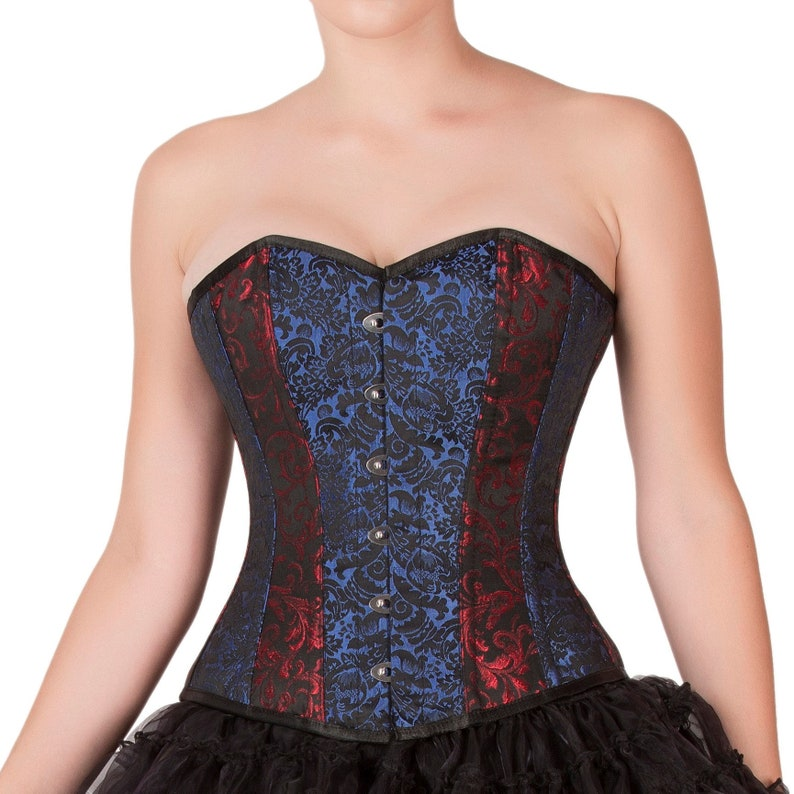 233b0bc3643 Womens Red   Blue Black Brocade Corset  Gothic Burlesque