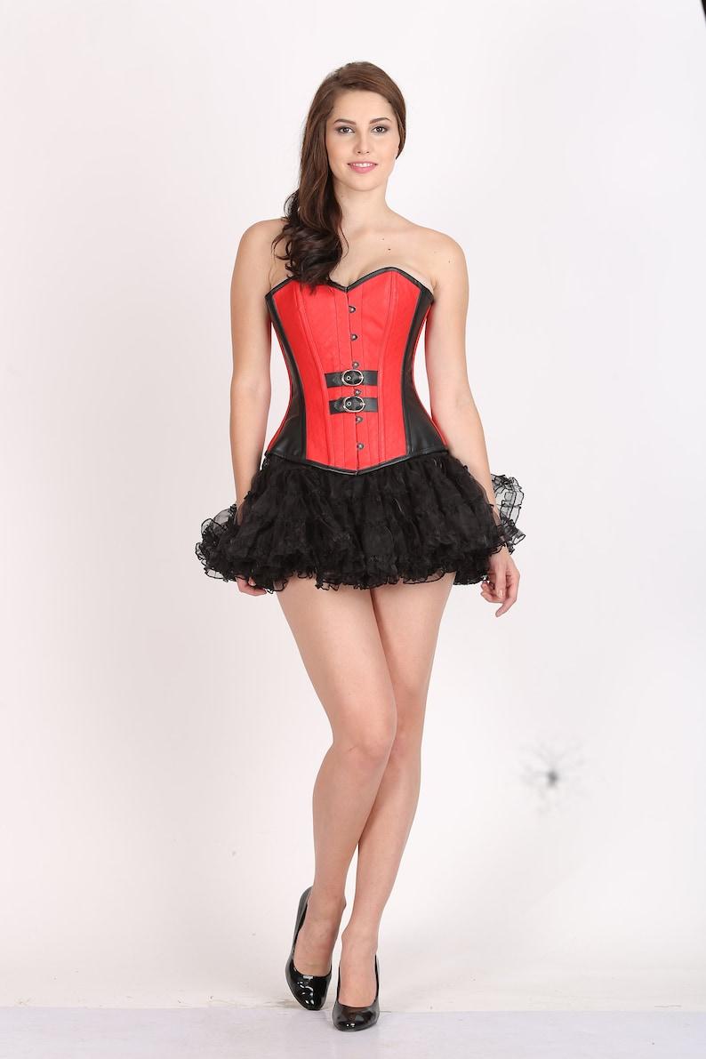 4ddeba3c3a6 Womens Red Black Leather Gothic Steampunk Bustier Waist