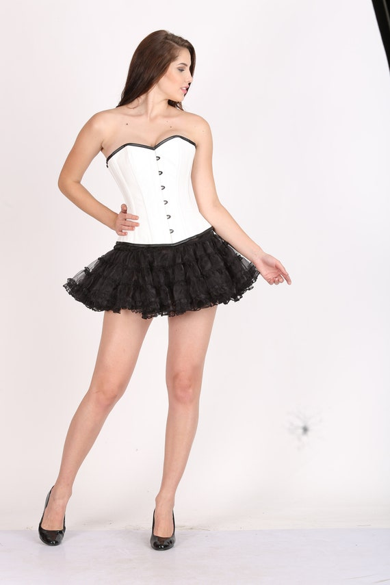 436331993fb Womens White Rice Leather Gothic Burlesque Bustier Waist