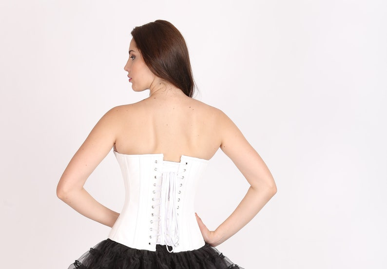 8501935baa5 Womens White PVC Faux Leather Gothic Steampunk Bustier Waist