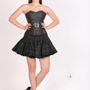 Blue Satin Corset Black Leather Belt Gothic Burlesque Halloween Costume Waist Training Basque LONGLINE Overbust Bustier Top Only
