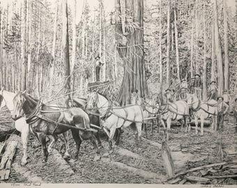 Pencil Drawing Print, Logging, Skid Road