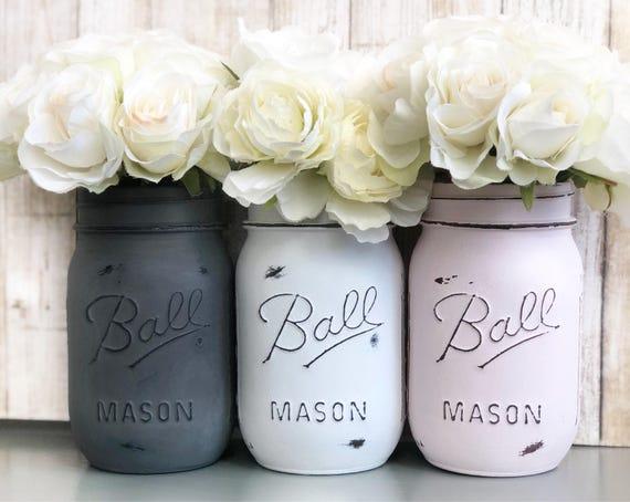 Poudre de rose gris acier blanc bocaux mason peint et en