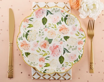 floral party plates pink green gold bridal shower baby shower paper plates cake reception luncheon dinner mw36866