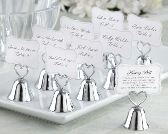 24 Gold Ring for Kiss Bells Wedding Place Card Holders Kissing Bell Set MW30351