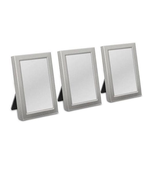 ee2f5cfbe916 Mini Photo Frames Silver with Easel Back Set of 3 Wedding