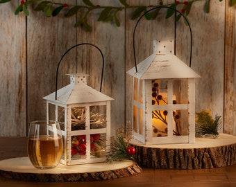 White Lantern Centerpiece - Wedding Bridal Shower Vintage Style Rustic Distressed Candle Holder Table Decor - 4 Sizes
