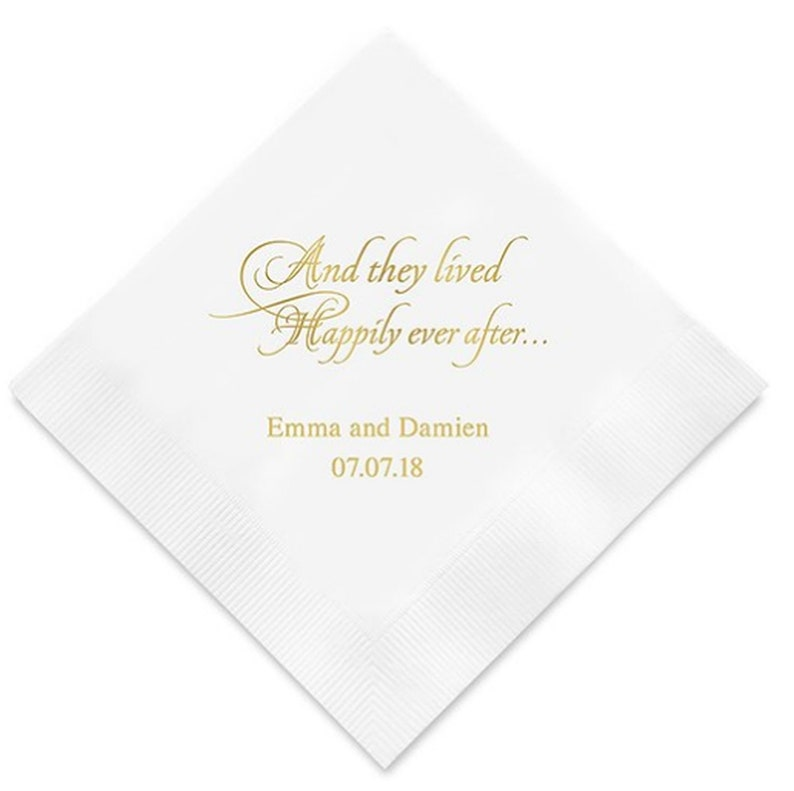 300 And They Lived Happily Ever After Personalized Wedding Cocktail Napkins