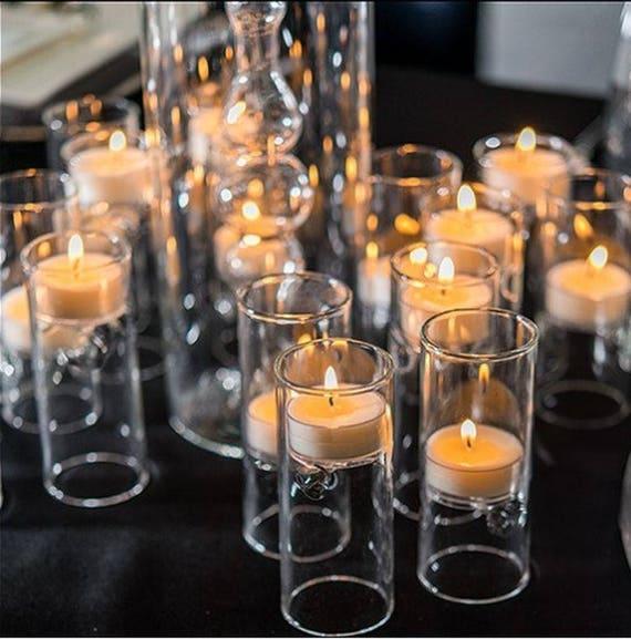 Glass Tealight Holders Miniature Luminaries Wedding Reception Table Decorations Centerpiece Candles Set Of 4 Mw16299