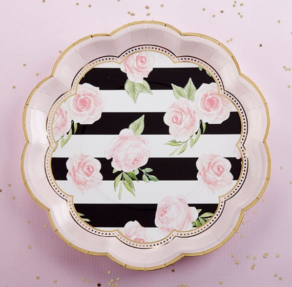 Floral Party Plates Pack Of 8 Black White Pink Gold Bridal Etsy