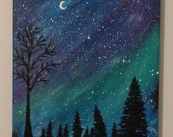 Night Sky with Moon - Oil On Canvas