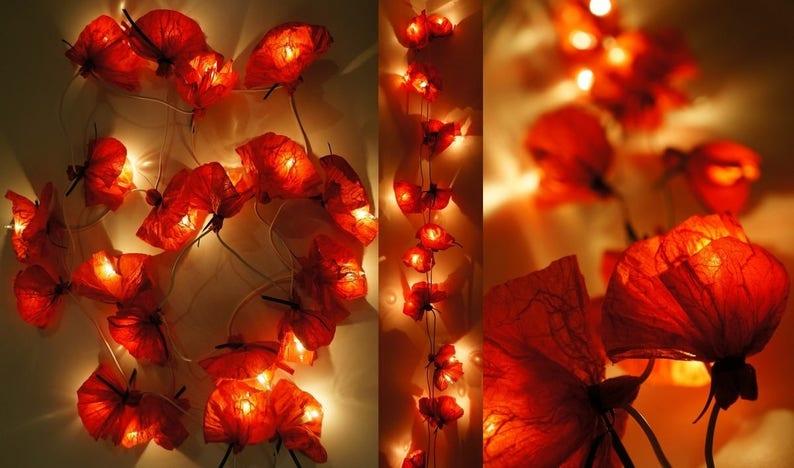 Ersatzglühbirnen Für Weihnachtsbeleuchtung.String Weihnachtsbeleuchtung 20 Seide Rotes Papier Mohn