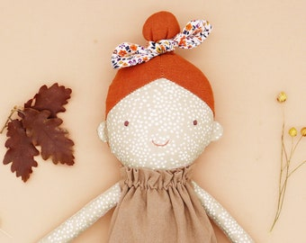 Millie - Top knot girl / freckle ginger hair doll / red head / textile doll