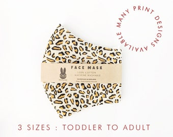 cloth face mask / toddler / child / adult / Men's / Women's / washable / reusable filter pocket / strawberry / leopard print / grey / floral