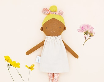 Mollie - Top knot girl / dark skin doll / yellow hair / blonde / textile doll