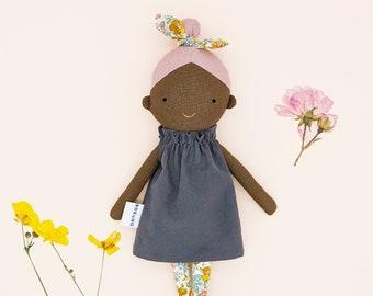Minnie - Top knot girl / dark skin doll / black doll / pink hair / textile doll