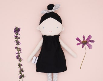 Marrie - Top knot girl / Halloween decor / goth / witch doll / textile doll