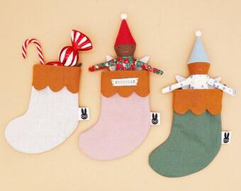 Personalised Mini Xmas stocking / natural linen Christmas stockings / Christmas decoration