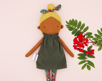 Mollie - Top knot girl / Christmas / dark skin doll / yellow hair / blonde / textile doll