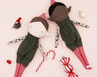 Elf doll / Christmas elves / holiday elf / black doll / Christmas Decoration