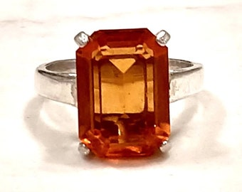 Cognac Citrine Sterling Silver Emerald Cut Ring Size 7
