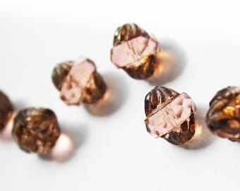 3 pale pink vintage antique Bohemian glass beads