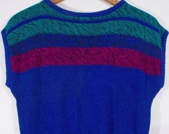 "Vintage 1980s Ramie & Cotton Slouchy Knit ""Melrose"" Label Pullover Sweater Top"