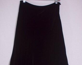 Vintage 1990s High Waisted Black Velvet & Silk A-Line Retro Grunge Full Midi Skirt,  Women's Small