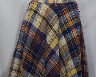 63778d8f3 Vintage Wool Skirt 1960's Madras Plaid High Waist Swing Round Circle Hem  Belt Loops Hidden Zipper Button Closure Vibrant Midcentury Colors