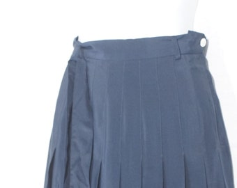 956b3d0a8 Vintage Pure Silk Skirt 1980's Ralph Lauren High Waist Pleated Navy Blue  Sheen Just Above Knee Waistband Belt Loop Nautical Preppy Summer