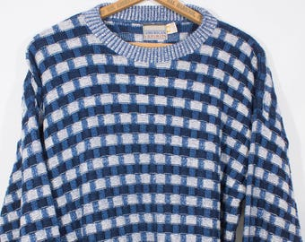 Vintage 1980s Amercian Spirit Men's Blue Cotton Crew neck Sweater Pullover Jumper