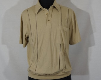 3840 Button down polo collar made in France Size M Vintage Short sleeves White knit top  knit top