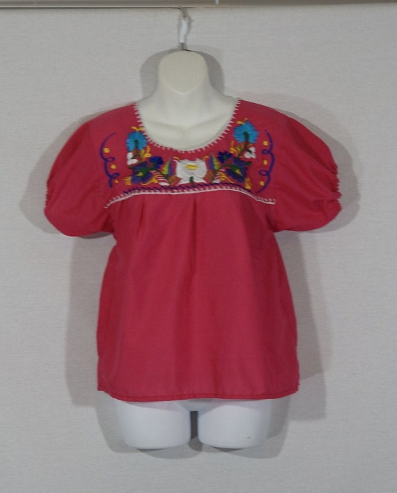1980's Peasant Top Vintage Mexican Smock Shirt Fol