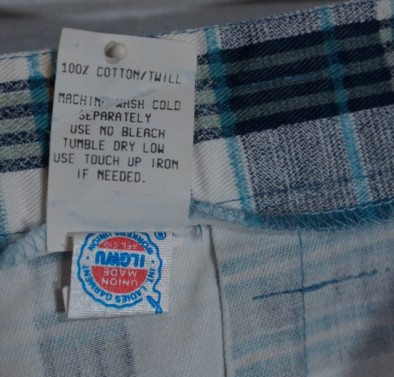Vintage Plaid Pants 80s Union Made in USA Label 1… - image 4