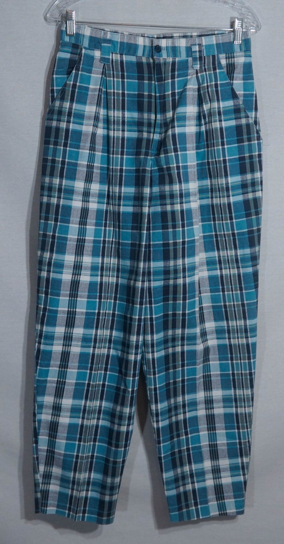 Vintage Plaid Pants 80s Union Made in USA Label 1… - image 2