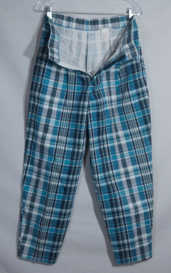 Vintage Plaid Pants 80s Union Made in USA Label 1… - image 3