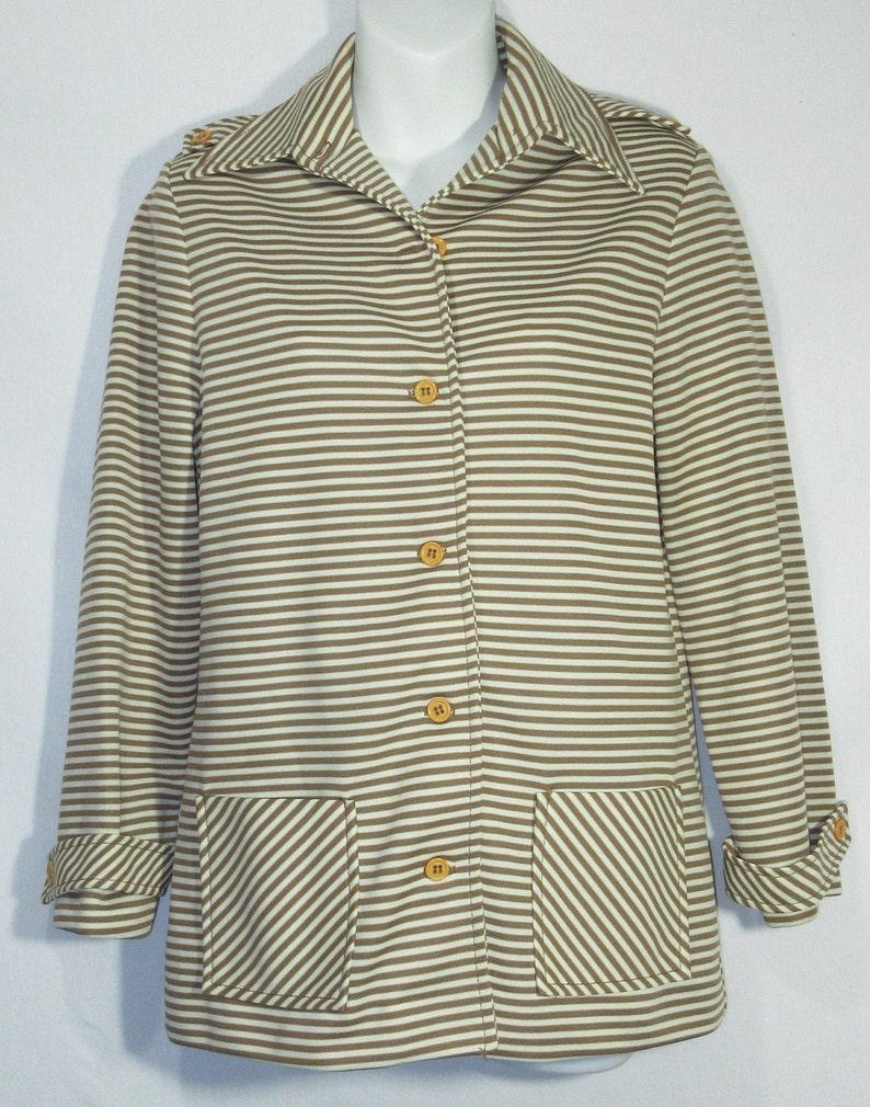 Vintage Artist Jacket Blazer 1970/'s Tunic Smock Top Duster Lightweight Striped Flat Pocket Button Down Tailored Shoulder Detail Notch Collar