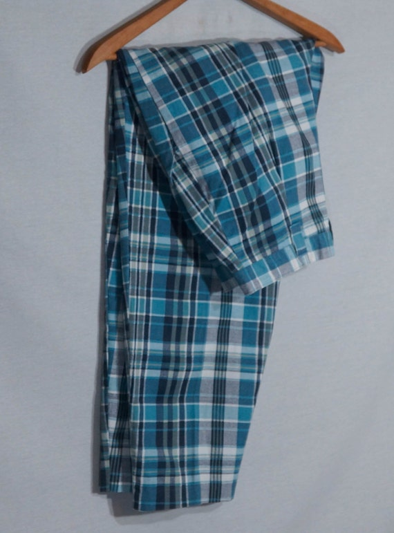 Vintage Plaid Pants 80s Union Made in USA Label 1… - image 1