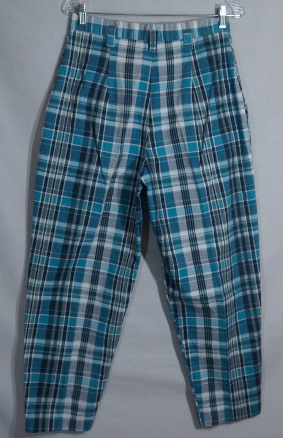 Vintage Plaid Pants 80s Union Made in USA Label 1… - image 6