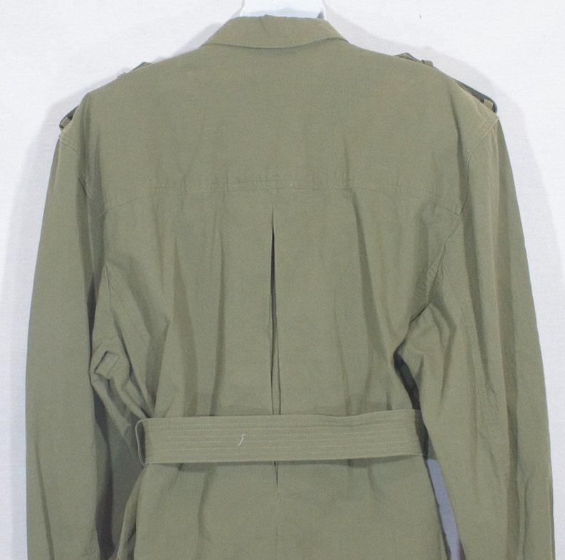 Vintage Liz Claiborne Jacket 1990/'s Trench Coat 100/% Cotton Button Down Long Sleeves Belt Khaki Green Front Pockets Shoulder Trim Size L