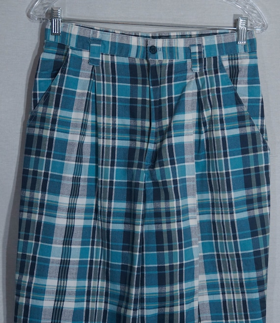 Vintage Plaid Pants 80s Union Made in USA Label 1… - image 7