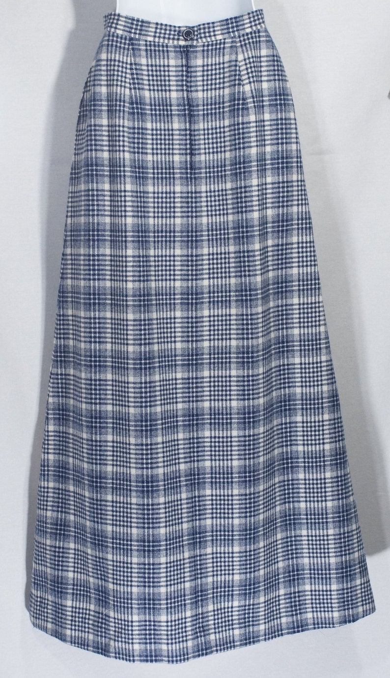 25 high waist 1970/'s Wool Skirt Vintage Pendleton Maxi Plaid Gown Ankle A Line Size XS  S