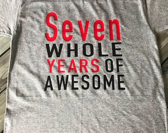 7th Birthday Shirt Boys Boy 7 Seventh Personalized Seven Whole Years Of Awesome