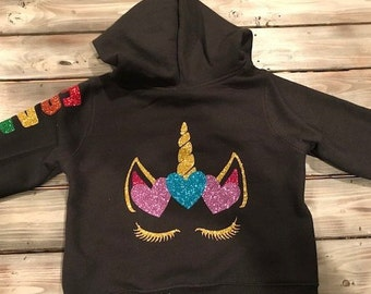 Kids Personalized Unicorn Head Hoodie Boys /& Girls Birthday Gift Heavyweight Hooded Jumper