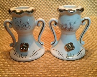TILSO Japan Hand-painted White and Gold Candlesticks