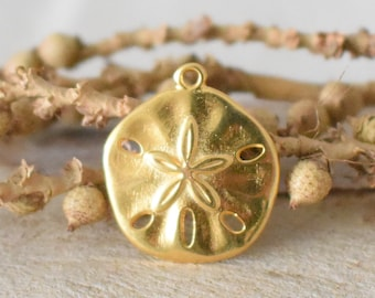 Gold Plated Sand Dollar Charms Drops Earring Findings 6