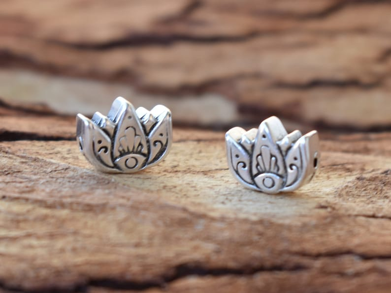 4 breloques charms perles BOUDDHA métal argenté DIY création bijoux B87