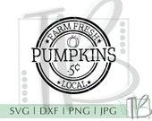 Farm Fresh Pumpkins SVG, Rustic Pumpkin Sign Svg, Vintage Pumpkin Svg, Wood Sign svg, Cut file, Svg, Dxf, Png, Silhouette, Cricut